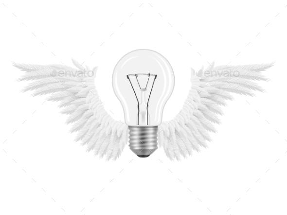 GraphicRiver Bulb Wings Idea 9053293