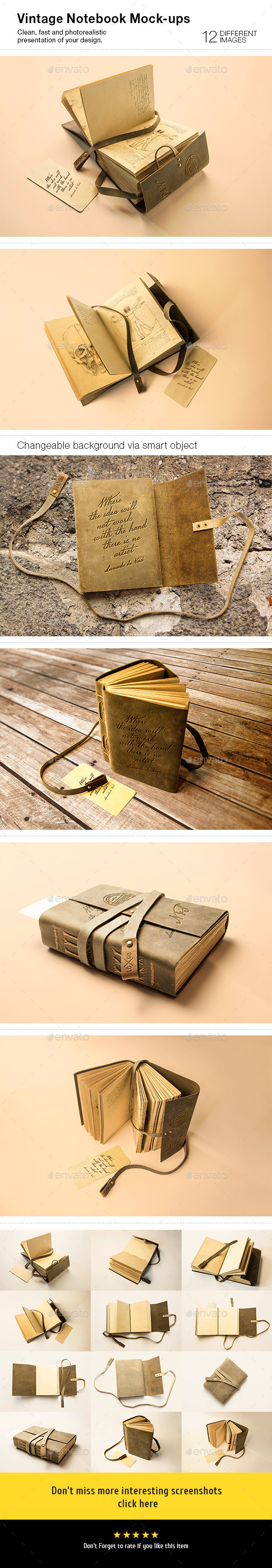 GraphicRiver 12 Vintage Notebook Mock-Ups 9053324
