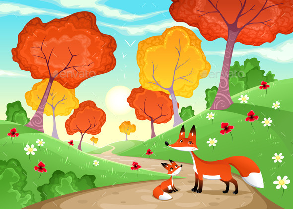 GraphicRiver Landscape with Family of Foxes 9053637