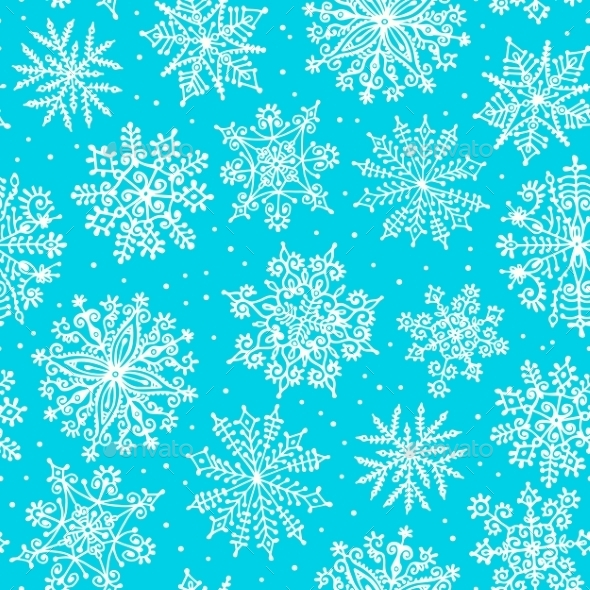 GraphicRiver Hand drawn snowflakes Seamless pattern 9053835