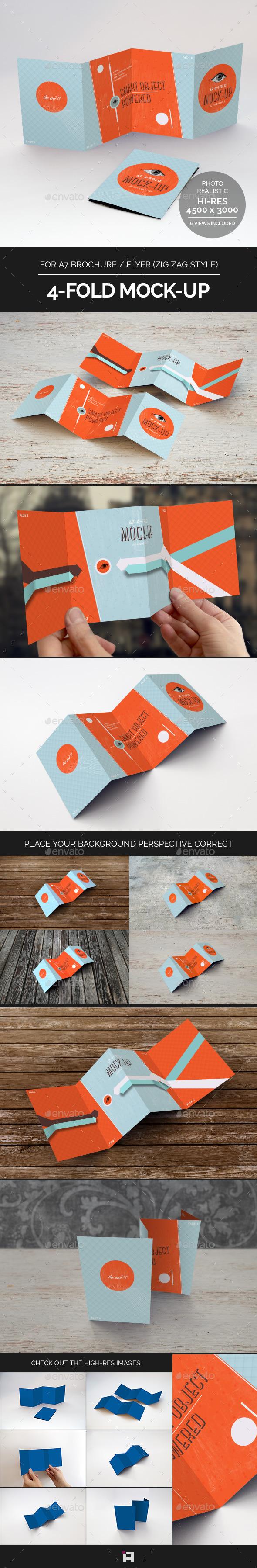 GraphicRiver 4-Fold Brochure Mock-Up A7 Zig Zag Style 9053978