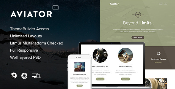 Aviator - Responsive Email + Themebuilder Access - Newsletters Email Templates