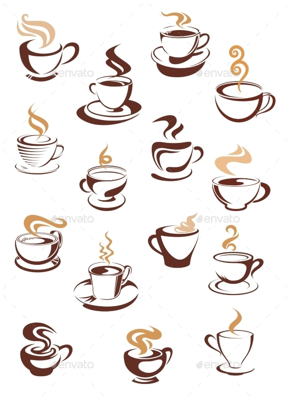 GraphicRiver Steaming Coffee Cups Set 9054252