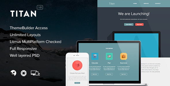 Titan - Responsive Email + Themebuilder Access - Newsletters Email Templates