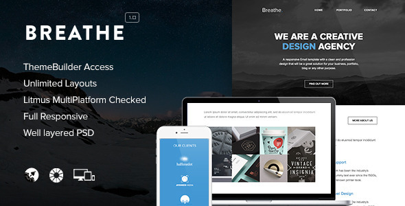 Breathe - Responsive Email + Themebuilder Access - Newsletters Email Templates