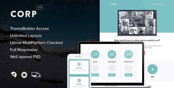Corp - Responsive Email + Themebuilder Access - Email Templates Marketing