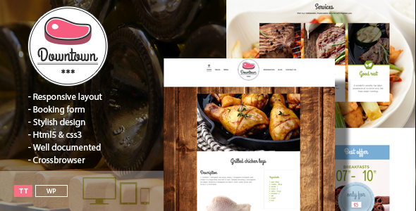 ThemeForest Downtown Restaurant WordPress Template 9054980
