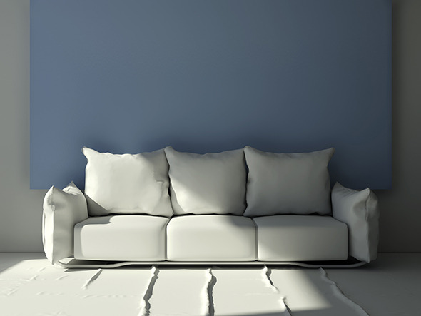 Modern three seat pillow sofa - 3DOcean Item for Sale