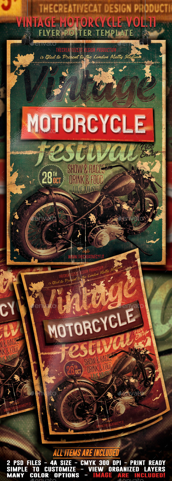 GraphicRiver Vintage Motorcycle Flyer Poster Vol 11 9055098