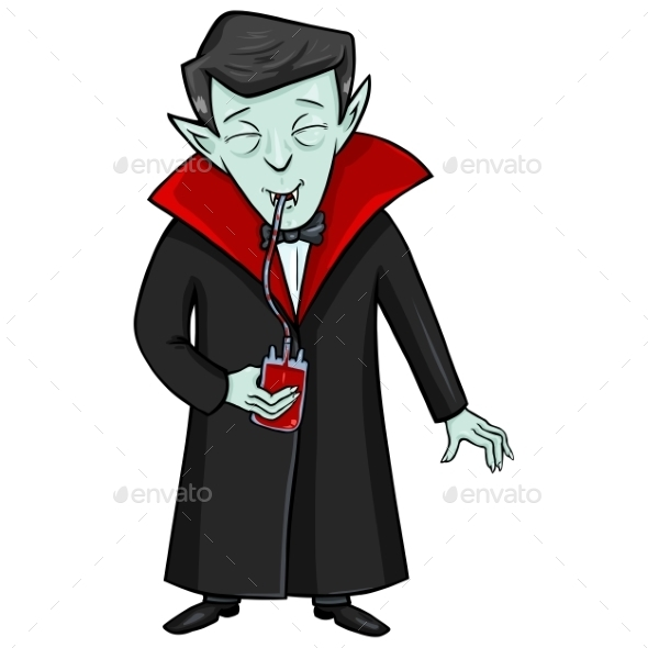 GraphicRiver Halloween Character Vampire Drinks Blood 9055183