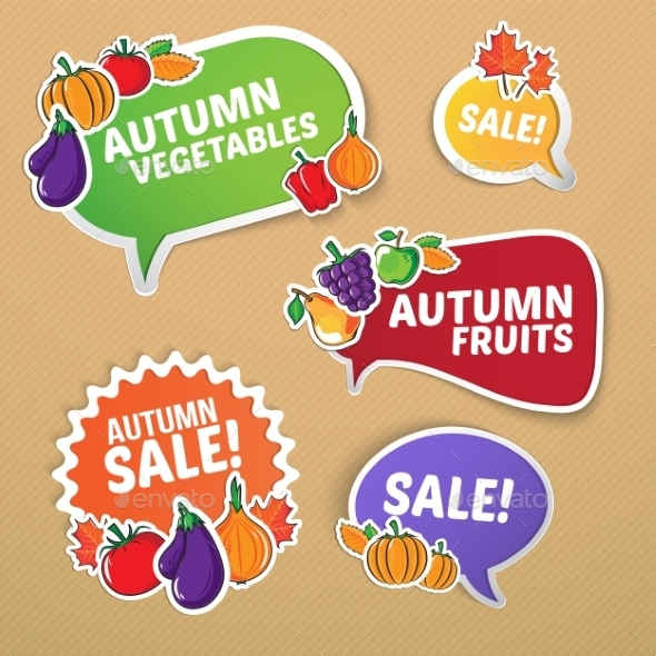 GraphicRiver Autumn Stickers Set with Fruits and Vegetables 9055653