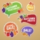 Autumn Stickers Set with Fruits and Vegetables - GraphicRiver Item for Sale