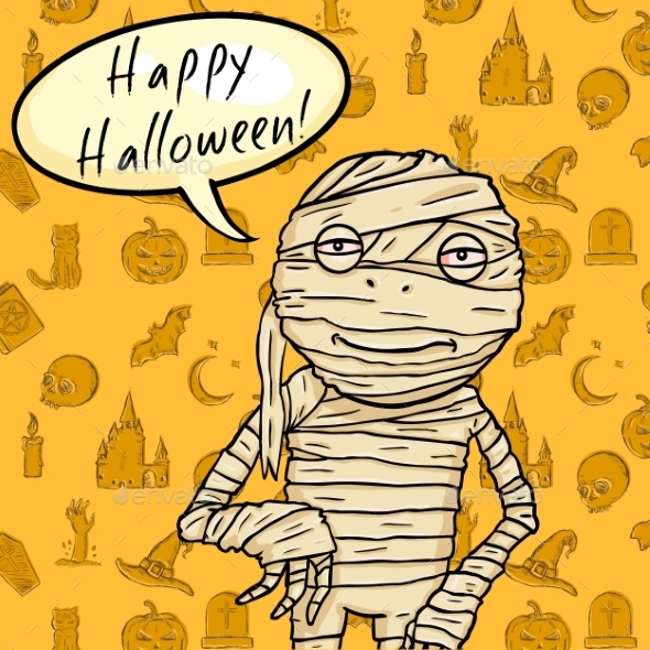 GraphicRiver Halloween Postcard Mummy with Bubble 9055735