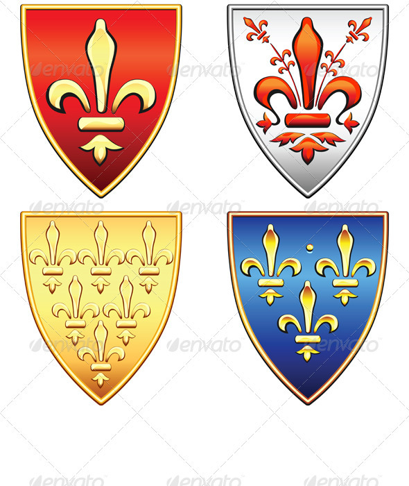 Vector French Shields with Arms of Fleur de Lis - Man-made objects Objects