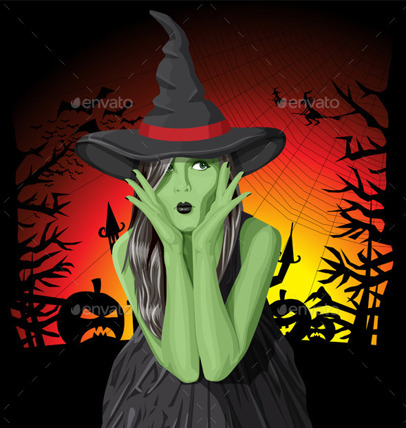 GraphicRiver Green Witch Woman with Hat on Halloween 9055789