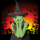 Green Witch Woman with Hat on Halloween - GraphicRiver Item for Sale