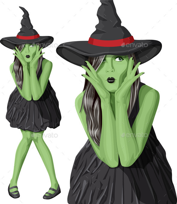 GraphicRiver Green Witch Woman with Hat on Halloween 9055876