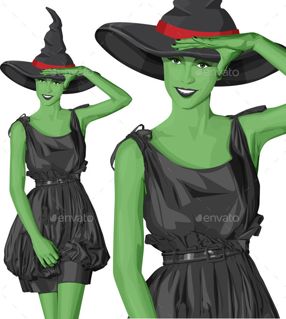 GraphicRiver Green Witch Woman with Hat on Halloween 9055912