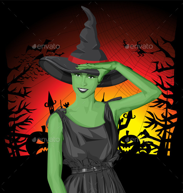 GraphicRiver Green Witch Woman with Hat on Halloween 9055917