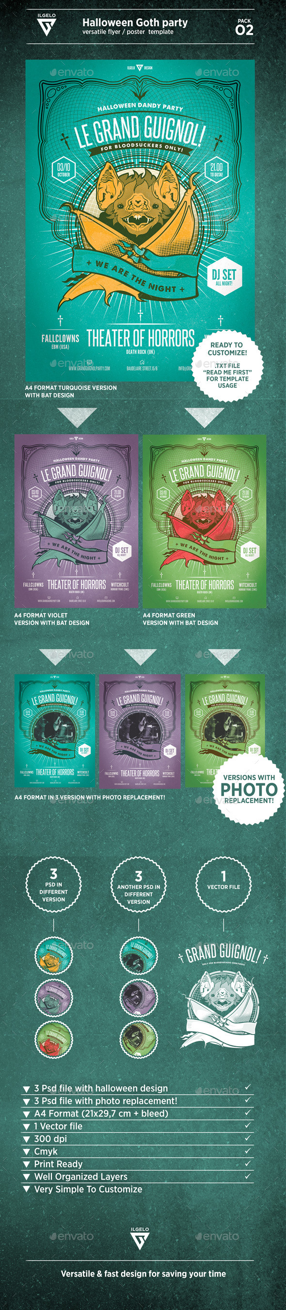 GraphicRiver Halloween Goth Party Poster Pack.02 9008375