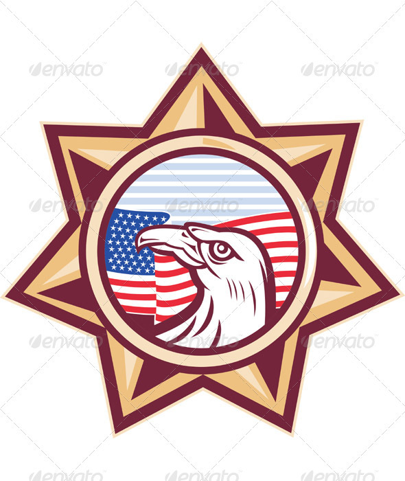 American Eagle with Flag and Star