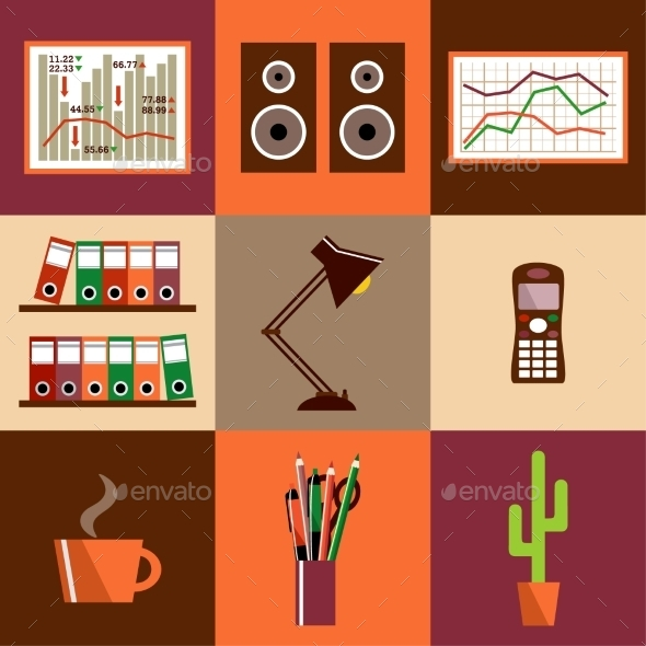 GraphicRiver Set of Office Icons 9056445