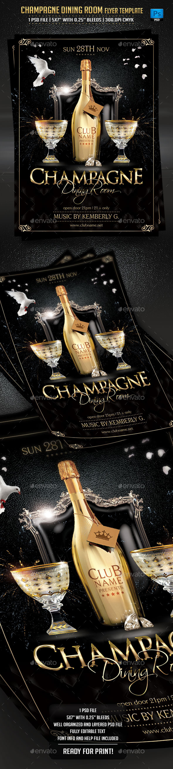 GraphicRiver Champagne Dining Room Flyer Template 9013759
