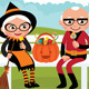 Elderly Couple Celebrating Halloween - GraphicRiver Item for Sale