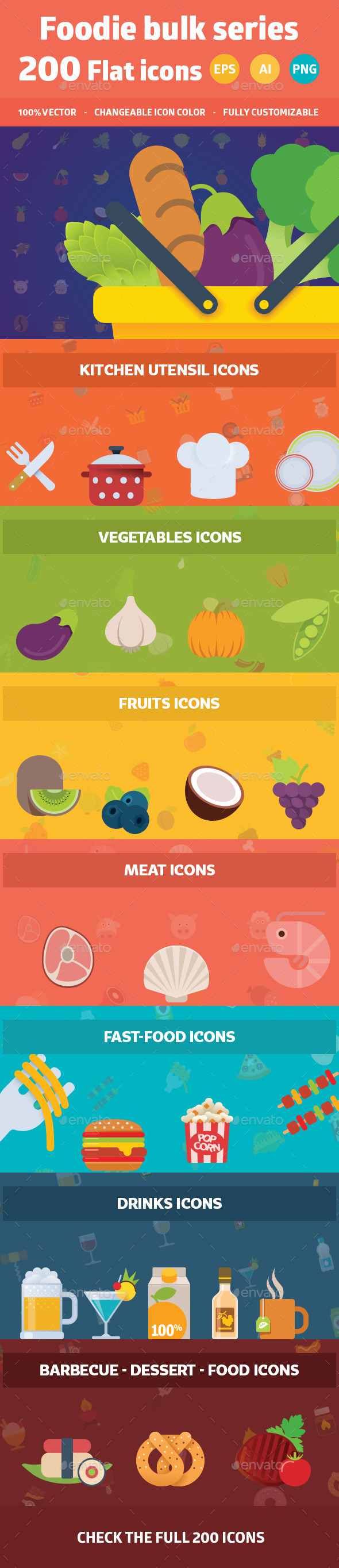 GraphicRiver Foodie Useful Flat Icons 9056870