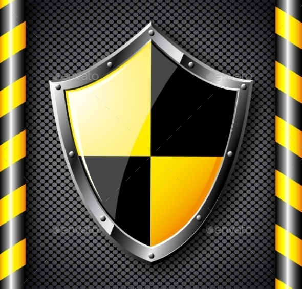 GraphicRiver Steel Shield over Black Dotted Background 9057152