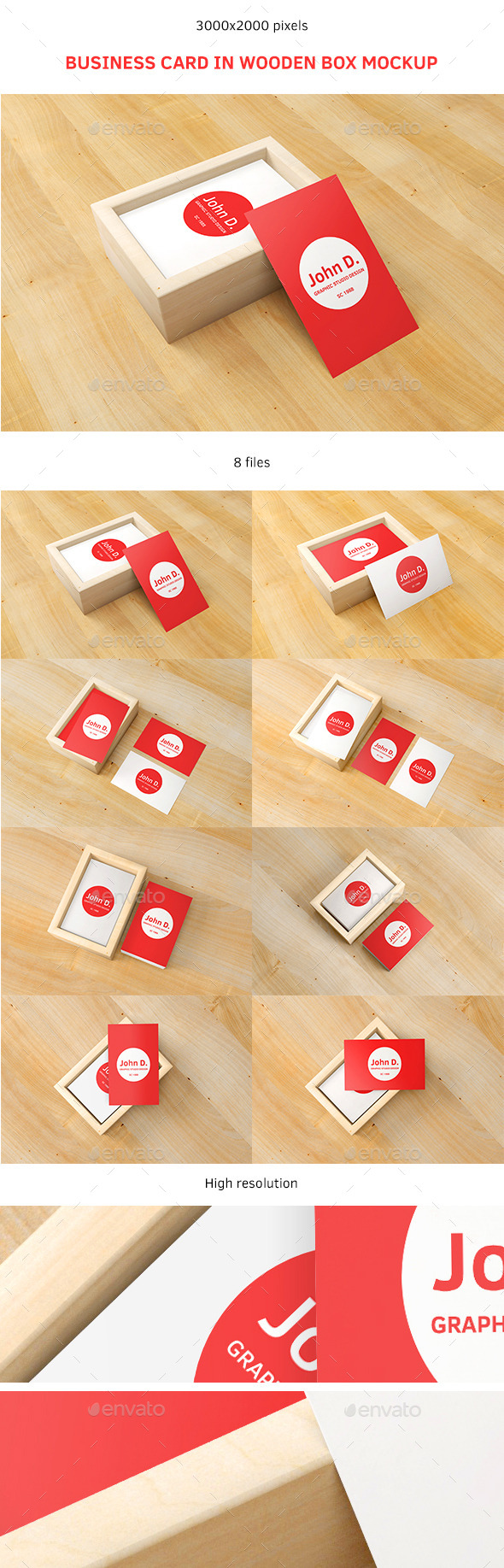 GraphicRiver Business Card in Wooden Box Mockup 9057160