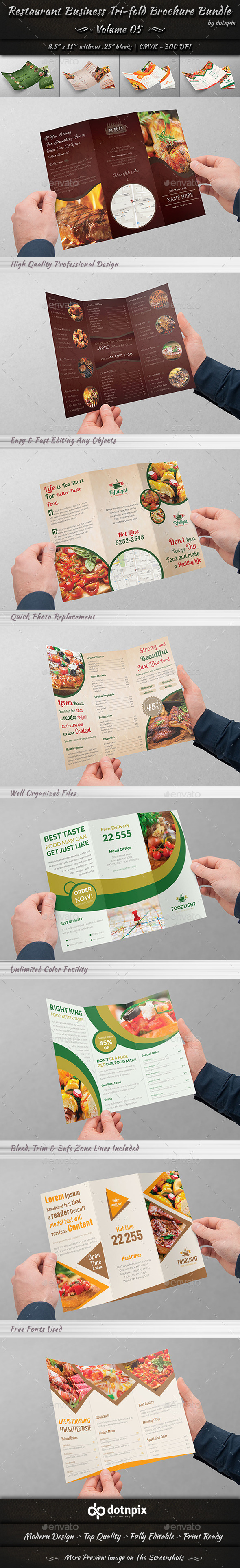 GraphicRiver Restaurant Tri-Fold Brochure Bundle Volume 5 9057161