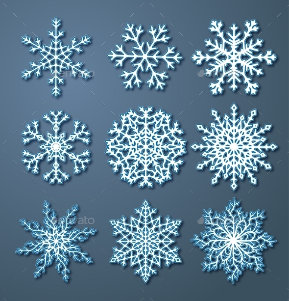 GraphicRiver Set of Paper Snowflakes 9057163