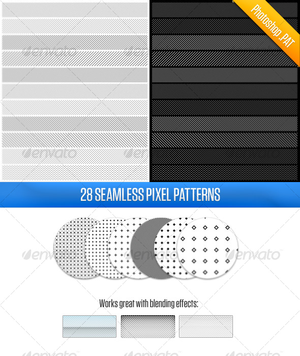 28 Pixel Patterns - Miscellaneous Textures / Fills / Patterns