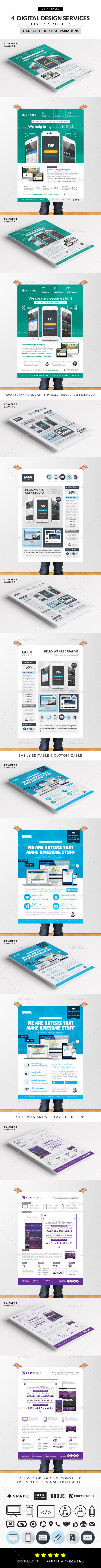 GraphicRiver 4 Design Web App Graphic Services Flyer Poster 9005525