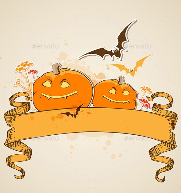 GraphicRiver Pumpkins and Vintage Banner 9057358