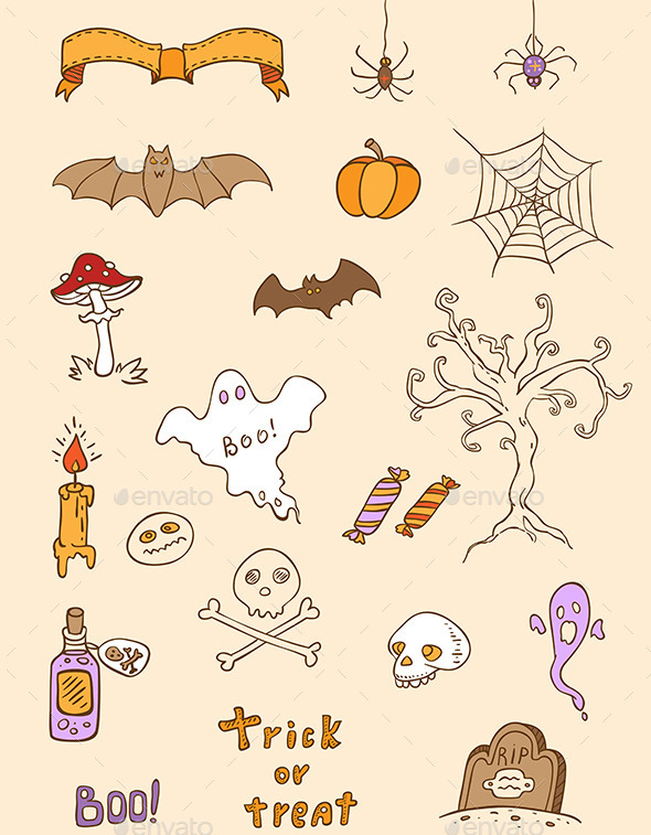 GraphicRiver Halloween Doodle Design Elements 9057486