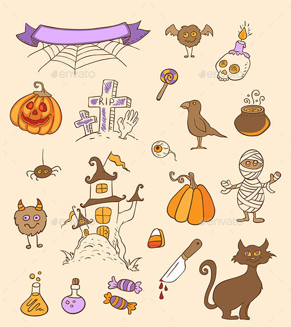 GraphicRiver Halloween Doodle Design Elements 9057521