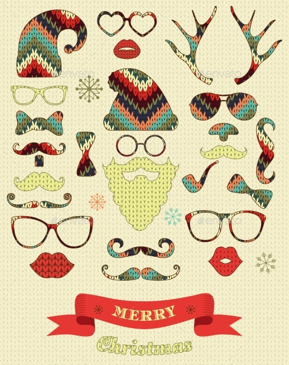 GraphicRiver Christmas Silhouette Set on Knitting Texture 9058955