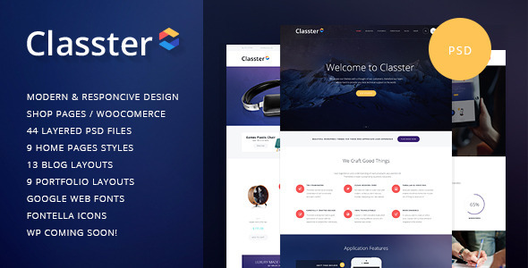 Classter Multi-Purpose PSD Template is well elaborated design idea for any corporate and creative websites: Organization, Community, Company Profile, Personal P