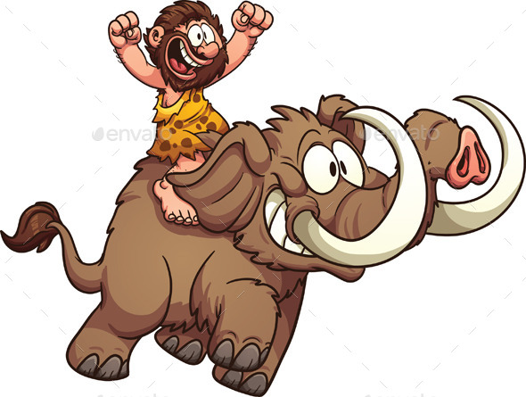 GraphicRiver Caveman Riding a Mammoth 9059077
