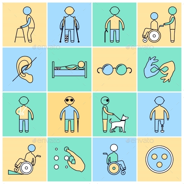 GraphicRiver Disabled Icons Set Flat Line 9059413