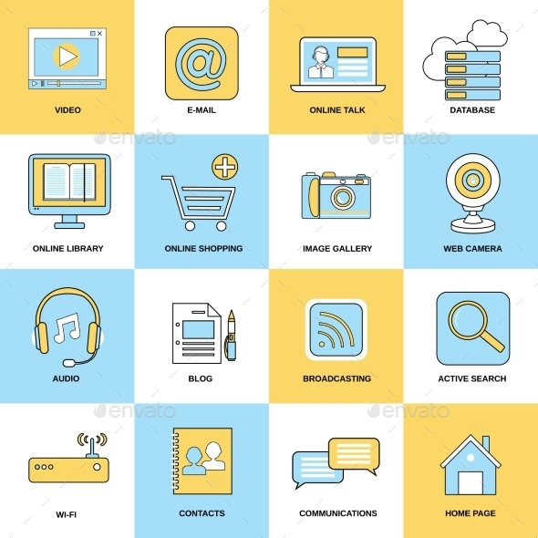 GraphicRiver Internet Icons Flat Line 9059415