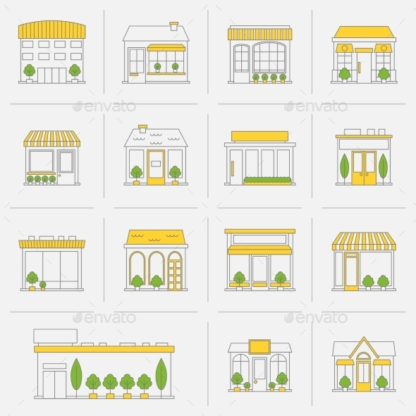 GraphicRiver Store Building Icons Set Flat Line 9059418