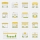 Store Building Icons Set Flat Line - GraphicRiver Item for Sale