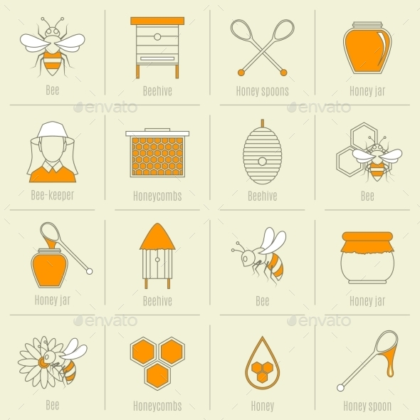 GraphicRiver Bee Honey Icons Flat Line Set 9059420