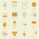 Bee Honey Icons Flat Line Set - GraphicRiver Item for Sale