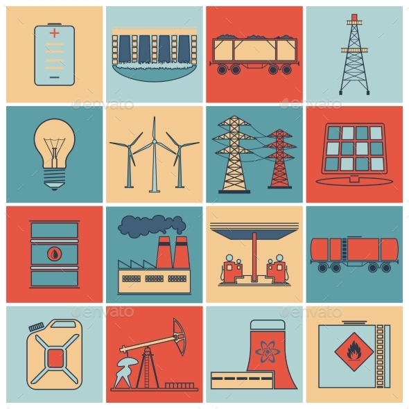 GraphicRiver Energy Icons Flat Line Set 9059421