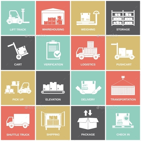 GraphicRiver Warehouse Icons Flat 9059424
