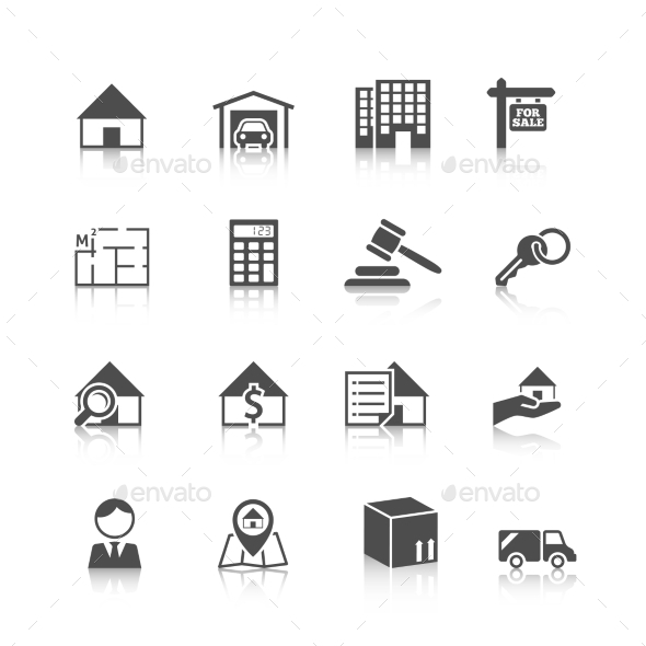 GraphicRiver Real Estate Icons Black 9059473